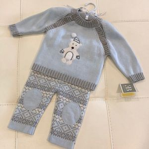 NWT Elegant Baby 2 piece Cotton Sweater Set 6 mos.
